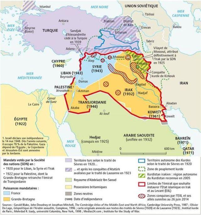 Du découpage de l'Empire ottoman aux projets des djihadistes (juillet 2014). Par Agnès Stienne.